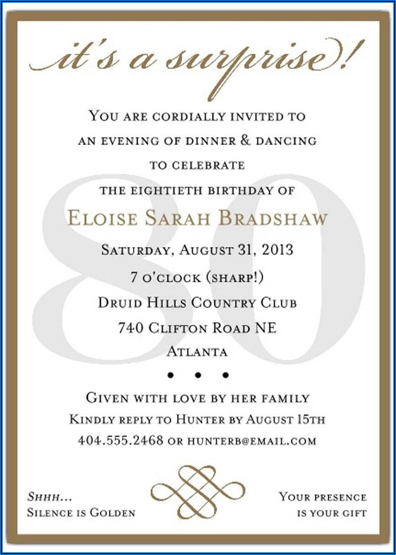 Surprise Birthday Invitations Text