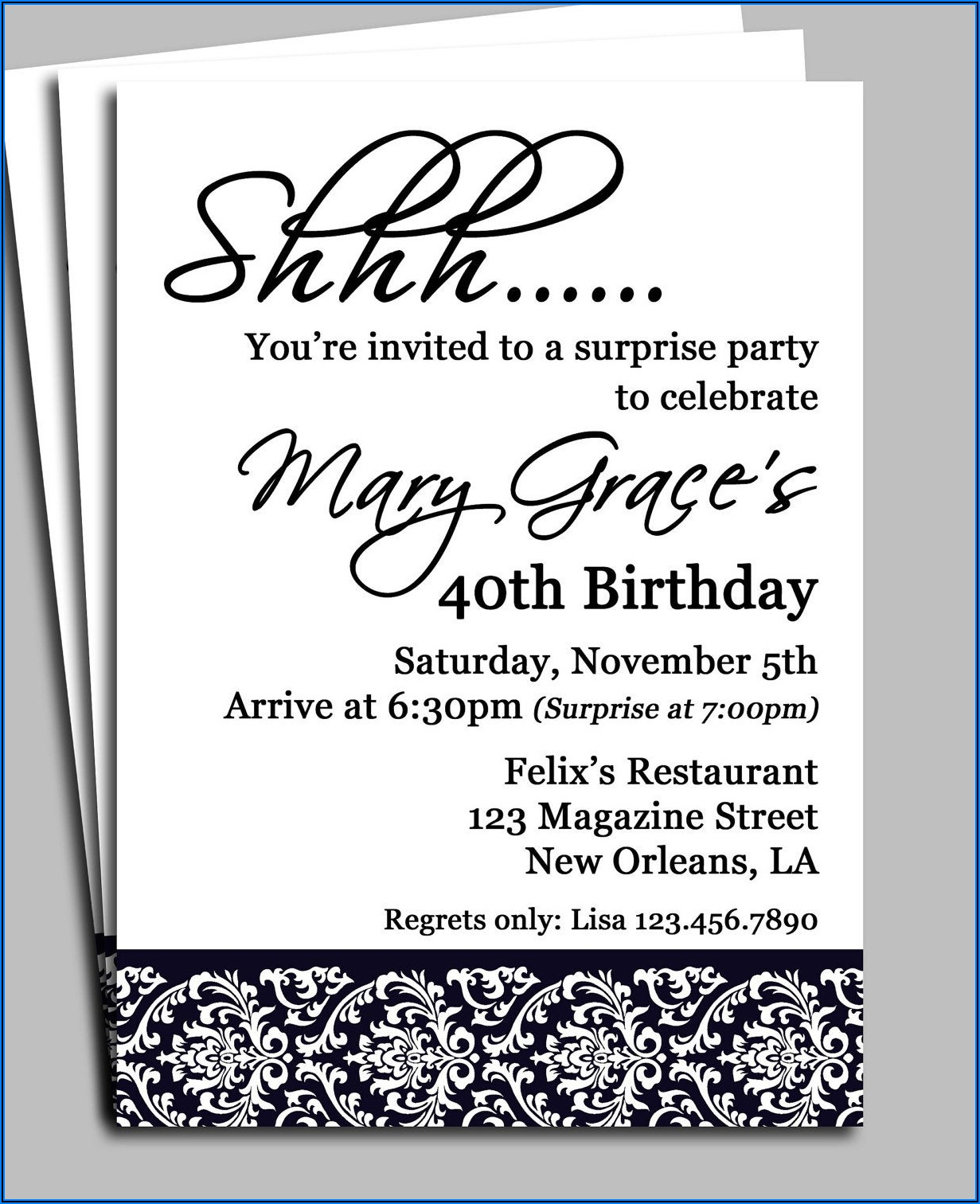 Surprise Birthday Party Invitations For Him