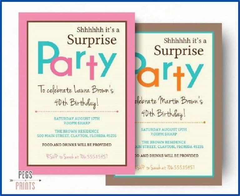 Surprise Birthday Party Invitations Templates