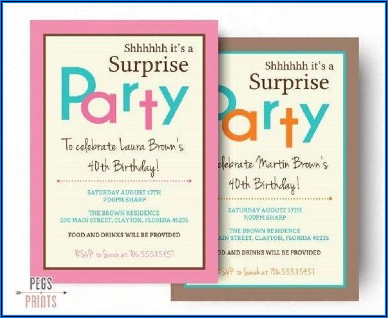 Surprise Birthday Party Invitations Templates