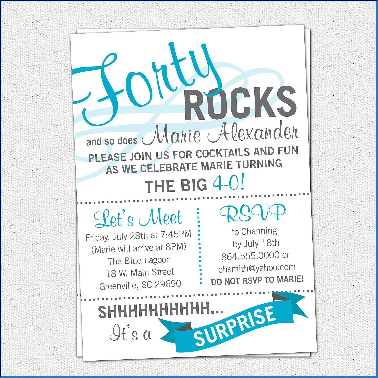 Surprise Birthday Party Invitations Wording
