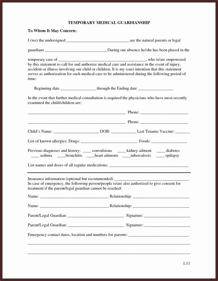 Temporary Guardianship Form Texas Pdf