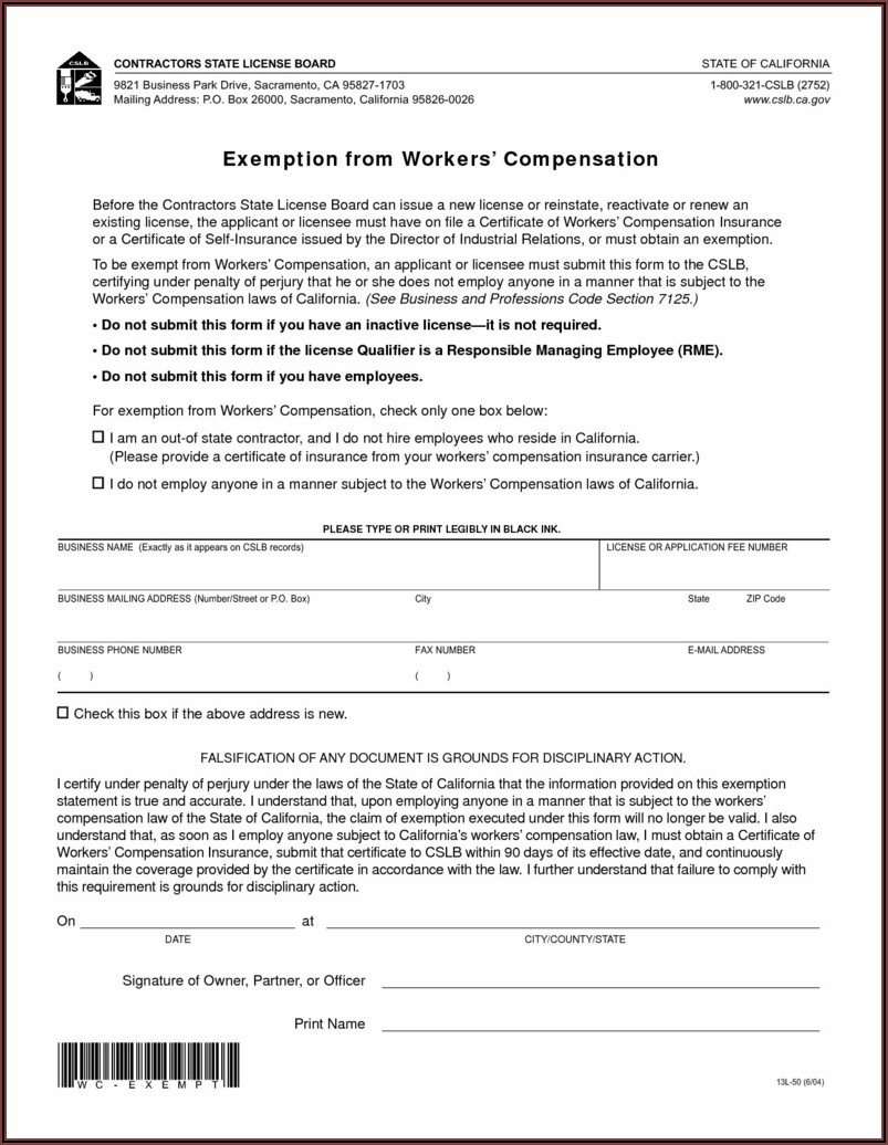 Tennessee Workers Comp Exemption Form