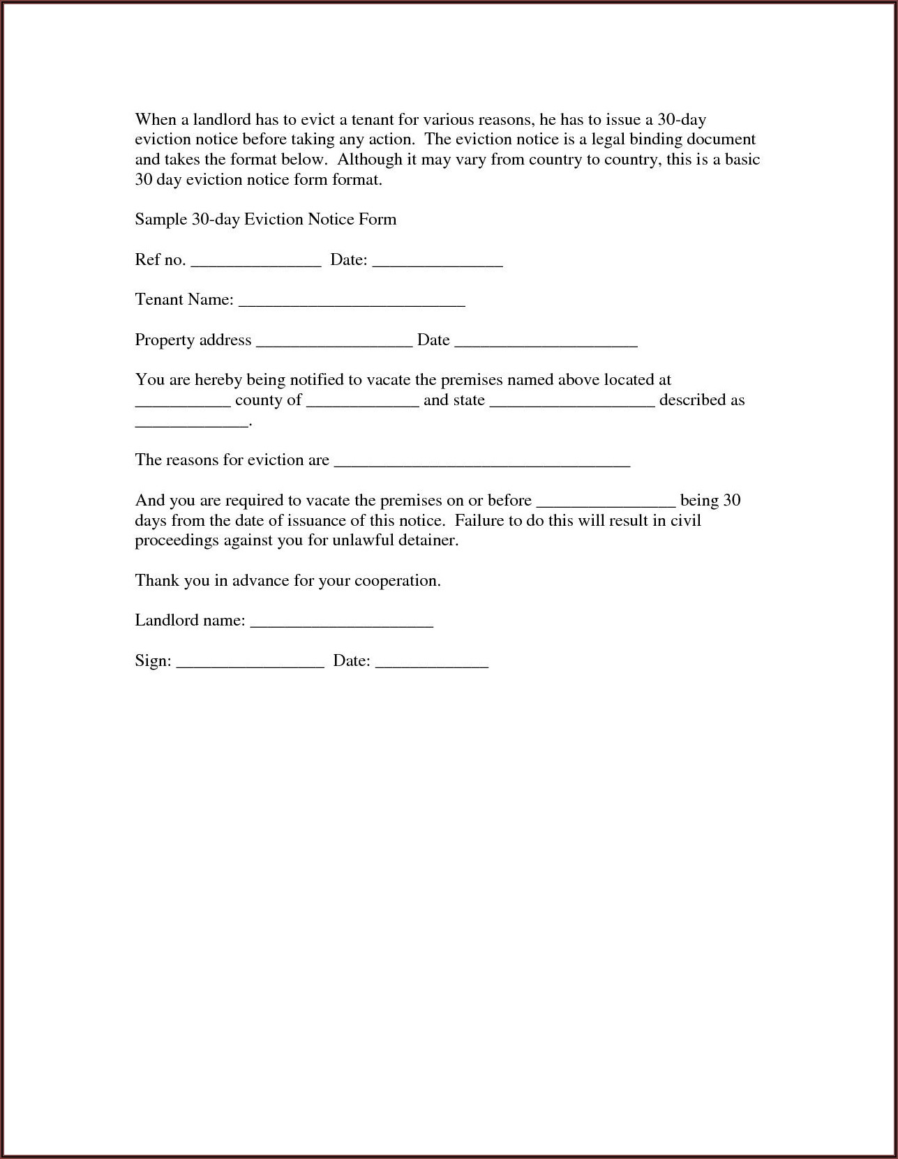 Texas 30 Day Eviction Notice Form
