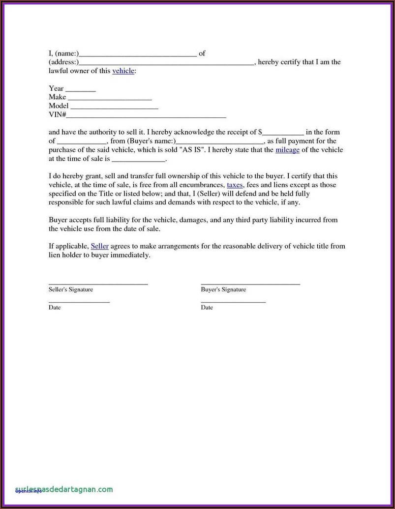 Texas Auto Bill Of Sale Form