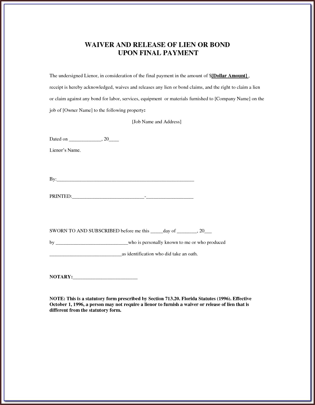 Texas Construction Lien Form