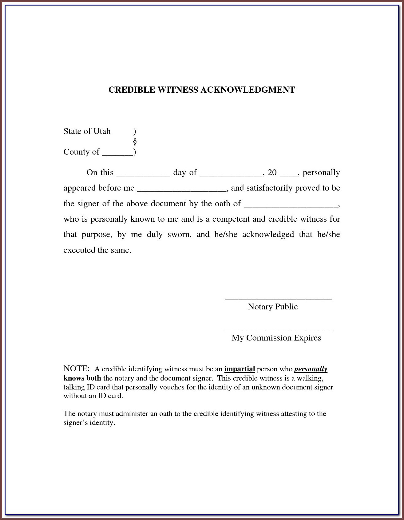 Texas Notary Acknowledgment