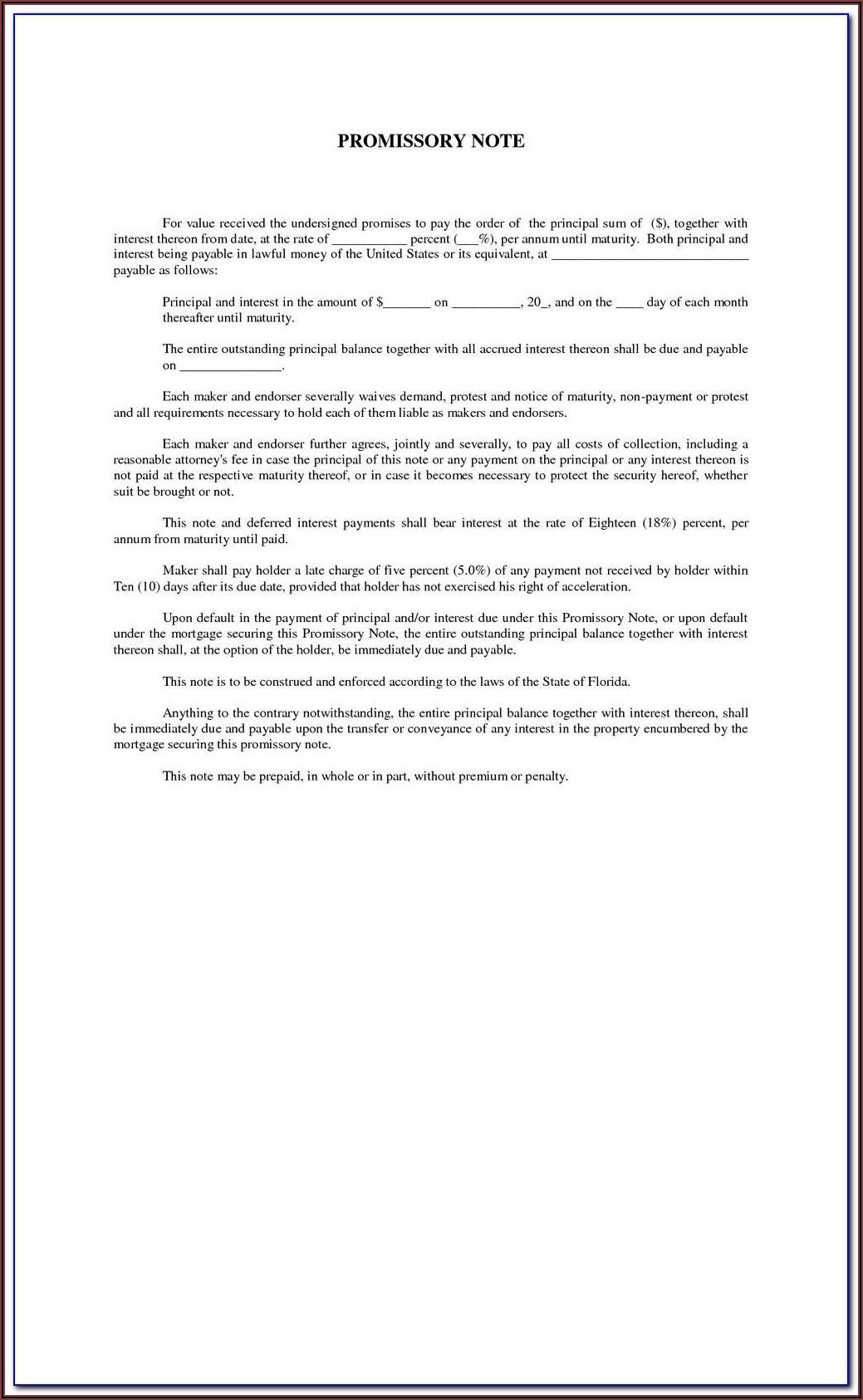 Texas State Bar Promissory Note Form