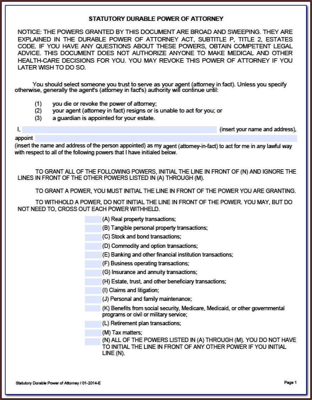 Texas Statutory Durable Power Of Attorney Form 2020
