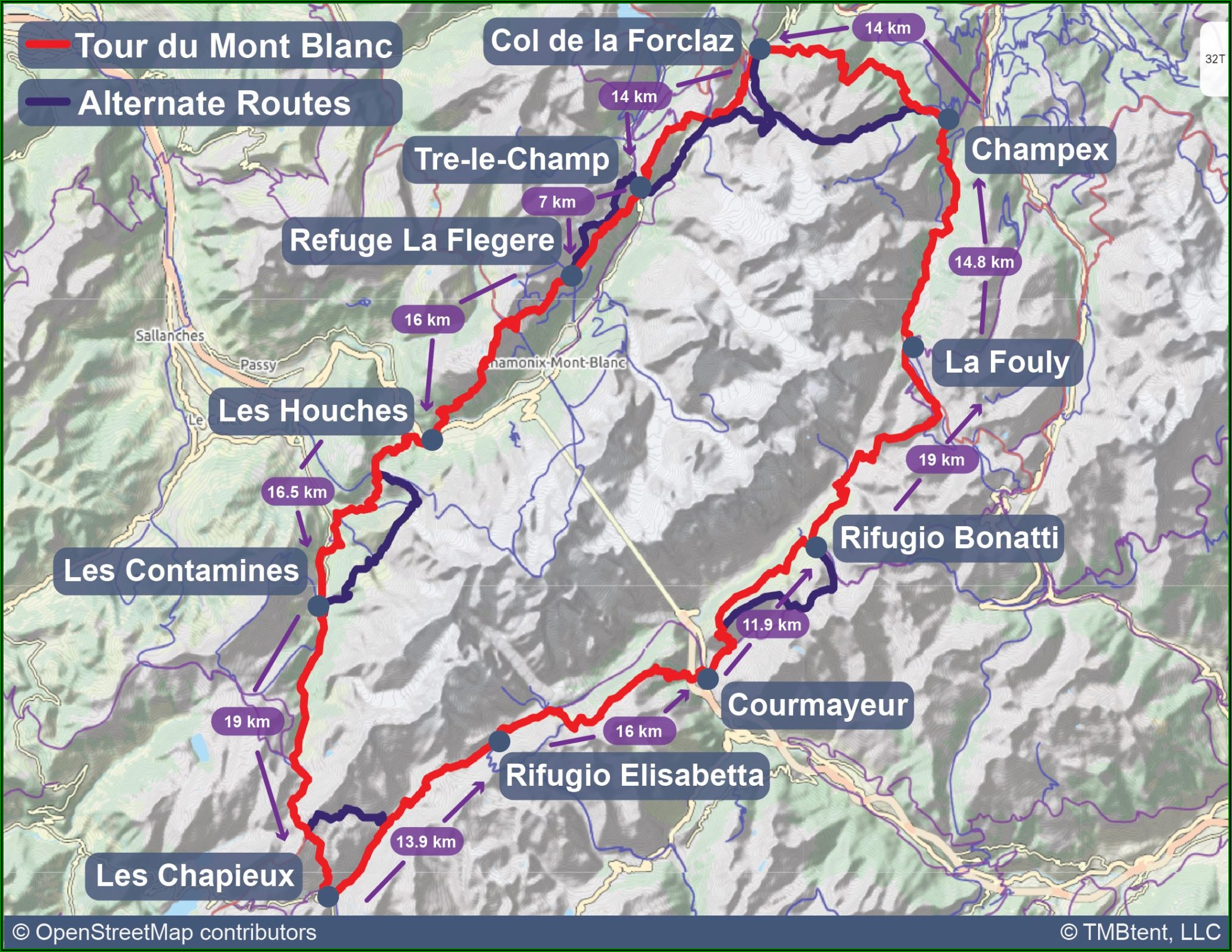 Tour Du Mont Blanc Map With Distances