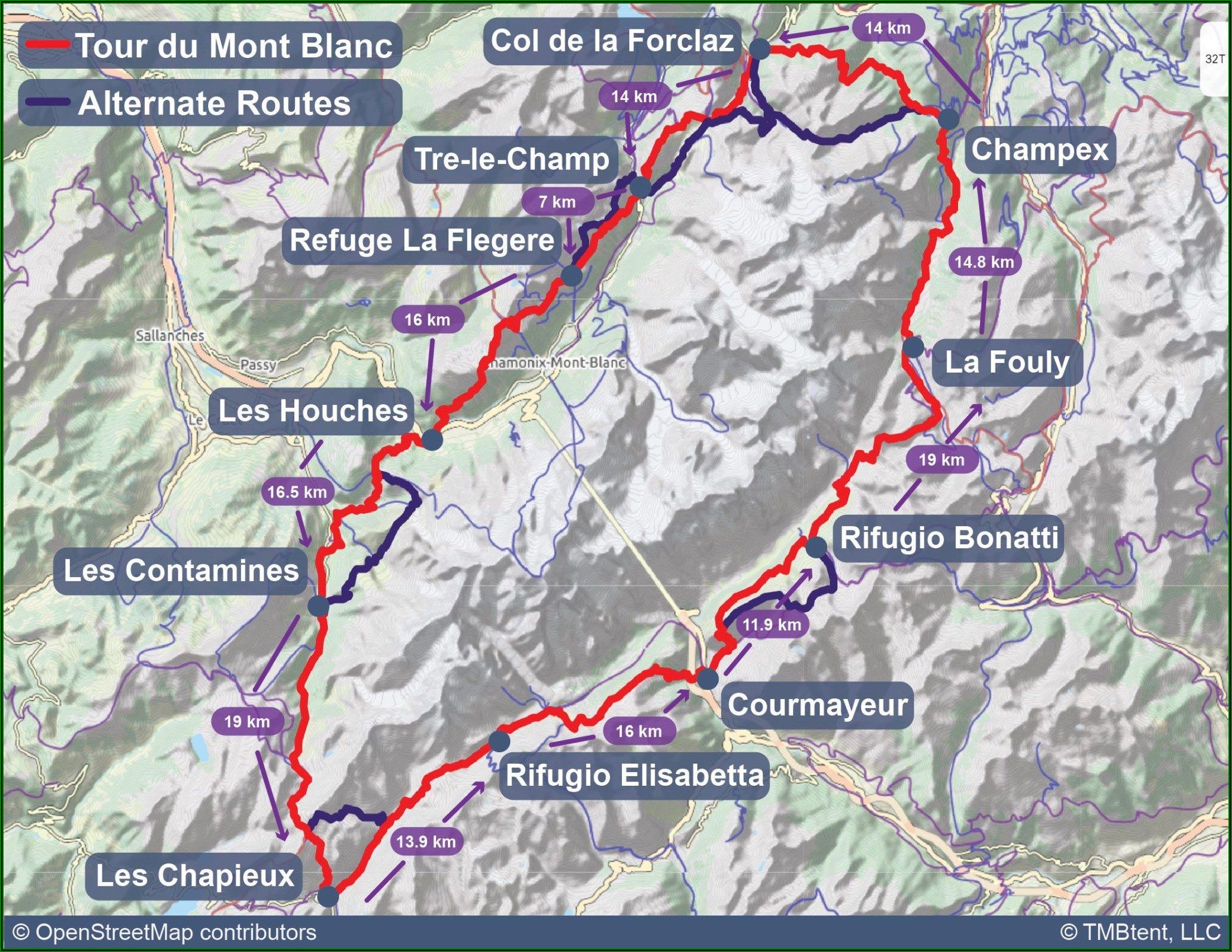 Tour Mont Blanc Map
