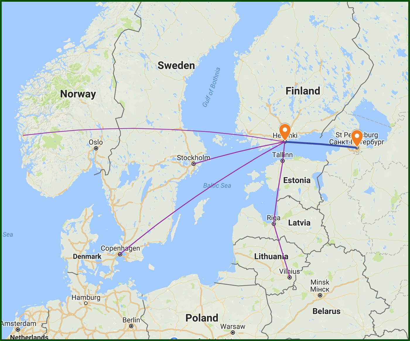 Tourist Map St. Petersburg Russia English