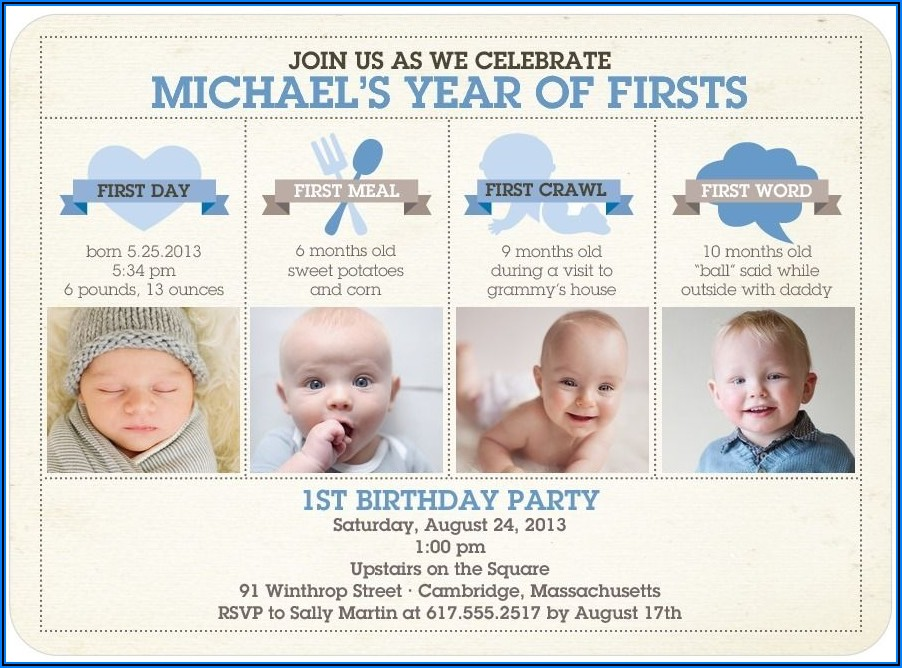 Twin Boy First Birthday Invitations