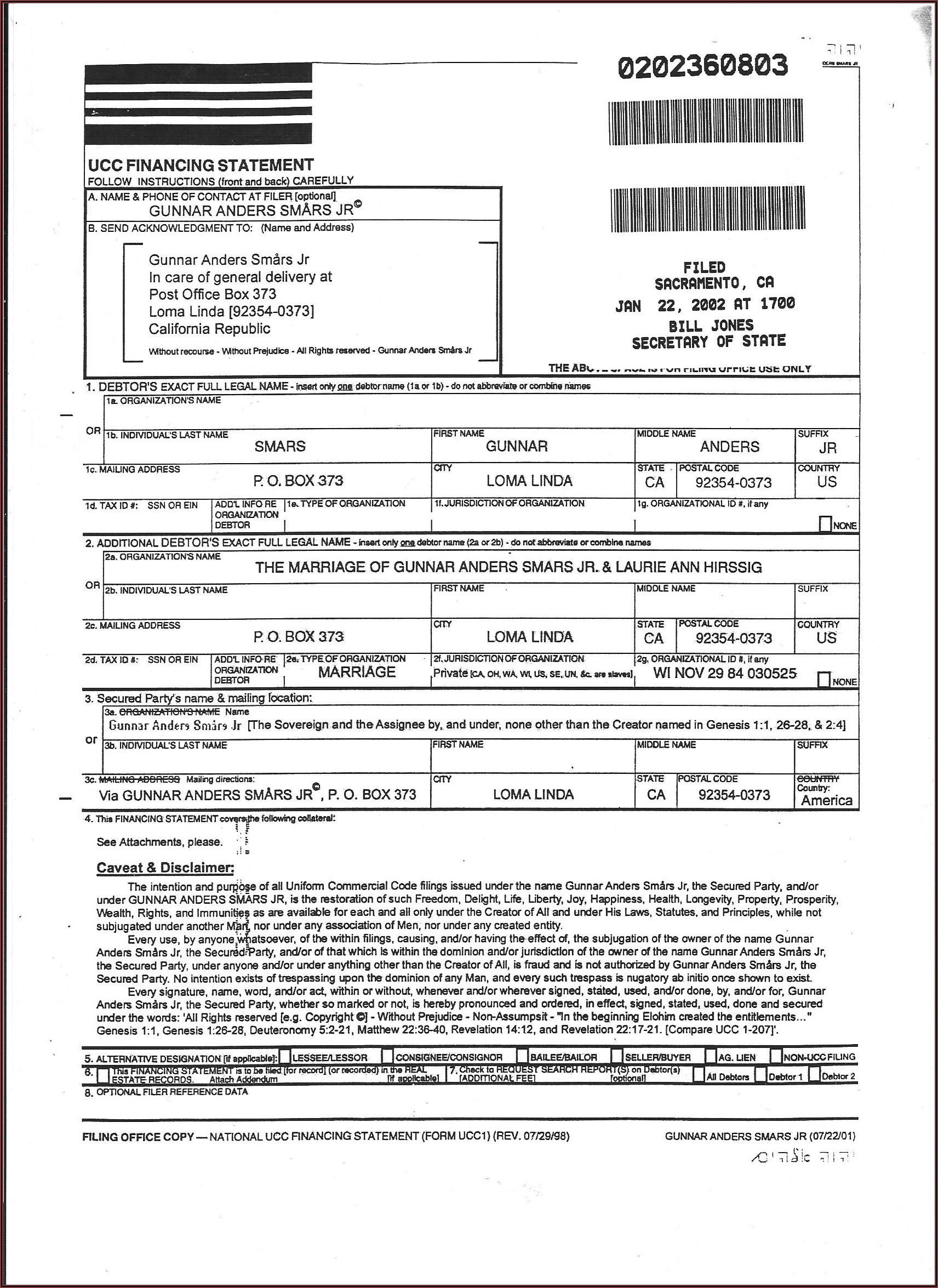 Ucc Filing Form California