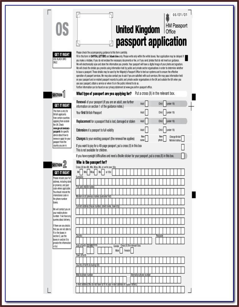 Uk Passport Renewal Forms