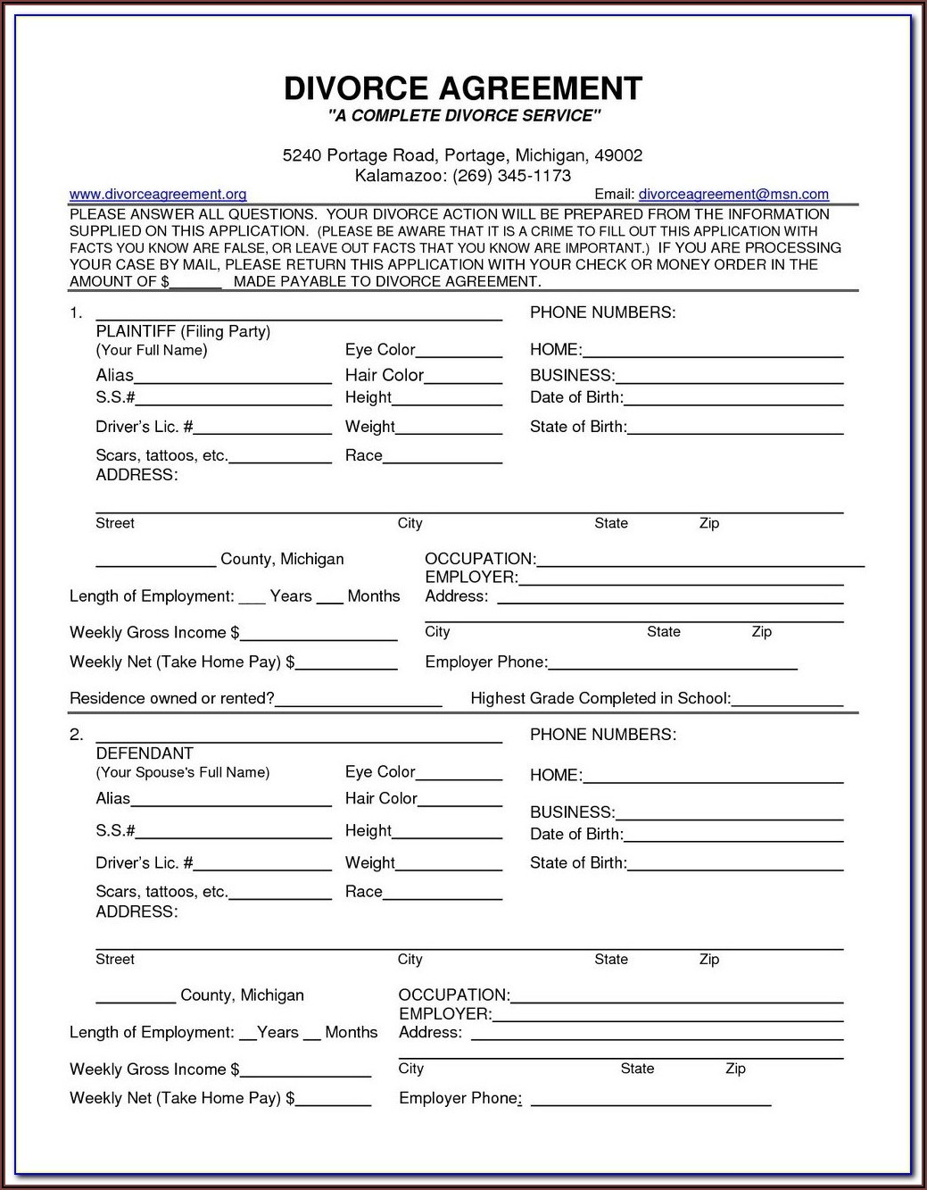 Uncontested Divorce Forms Florida