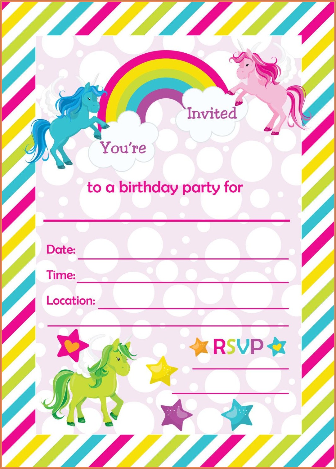 Unicorn Birthday Invitation Blank Template
