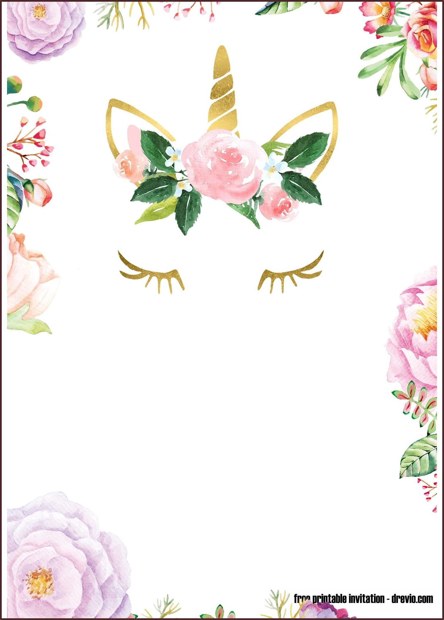 Unicorn Birthday Invitation Free Printable