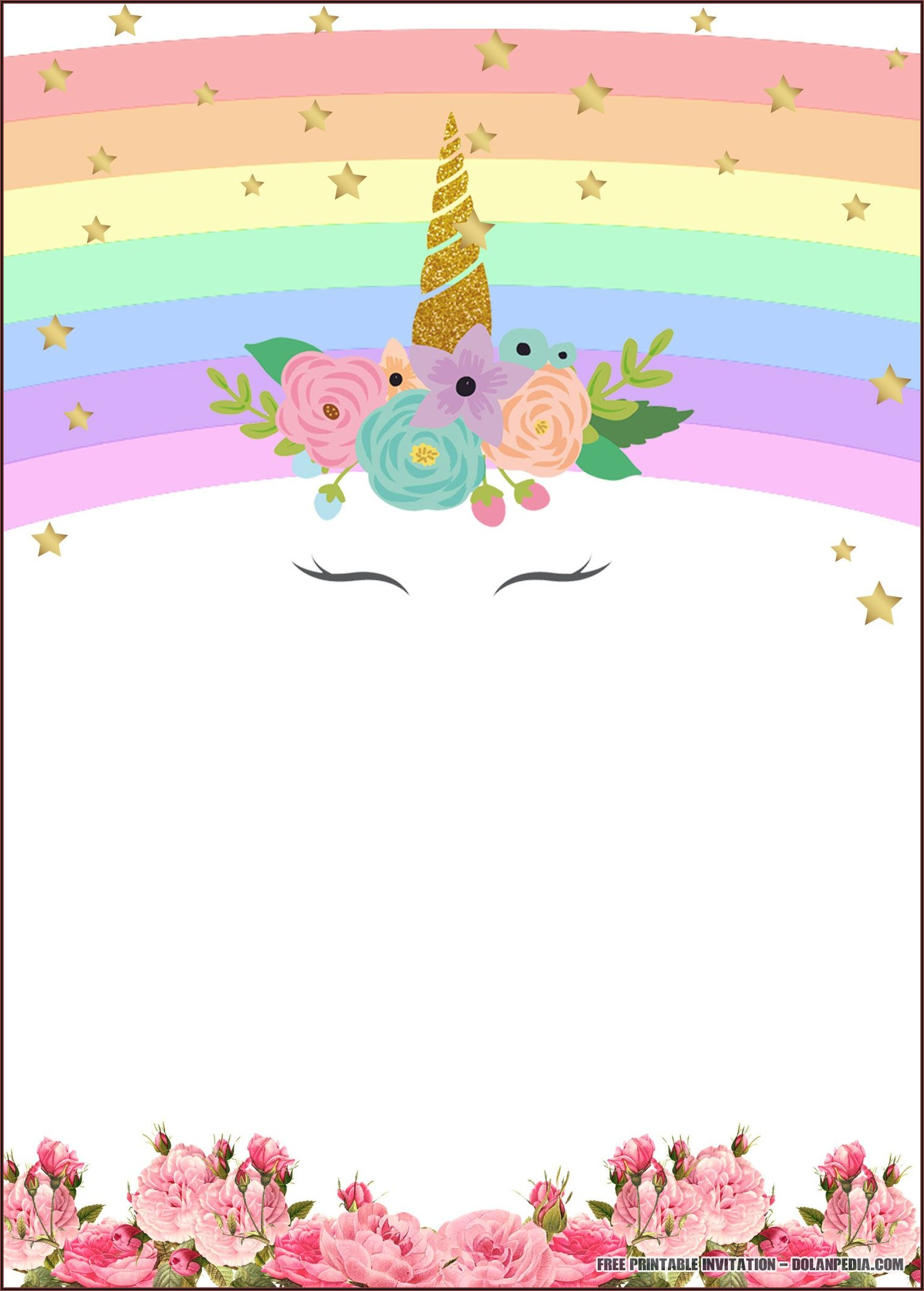 Unicorn Birthday Invitation Free Template