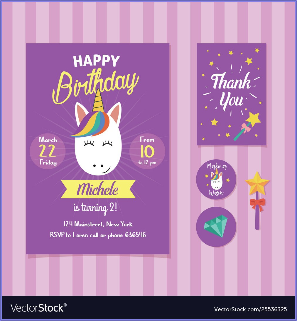 Unicorn Birthday Invitation Template Free