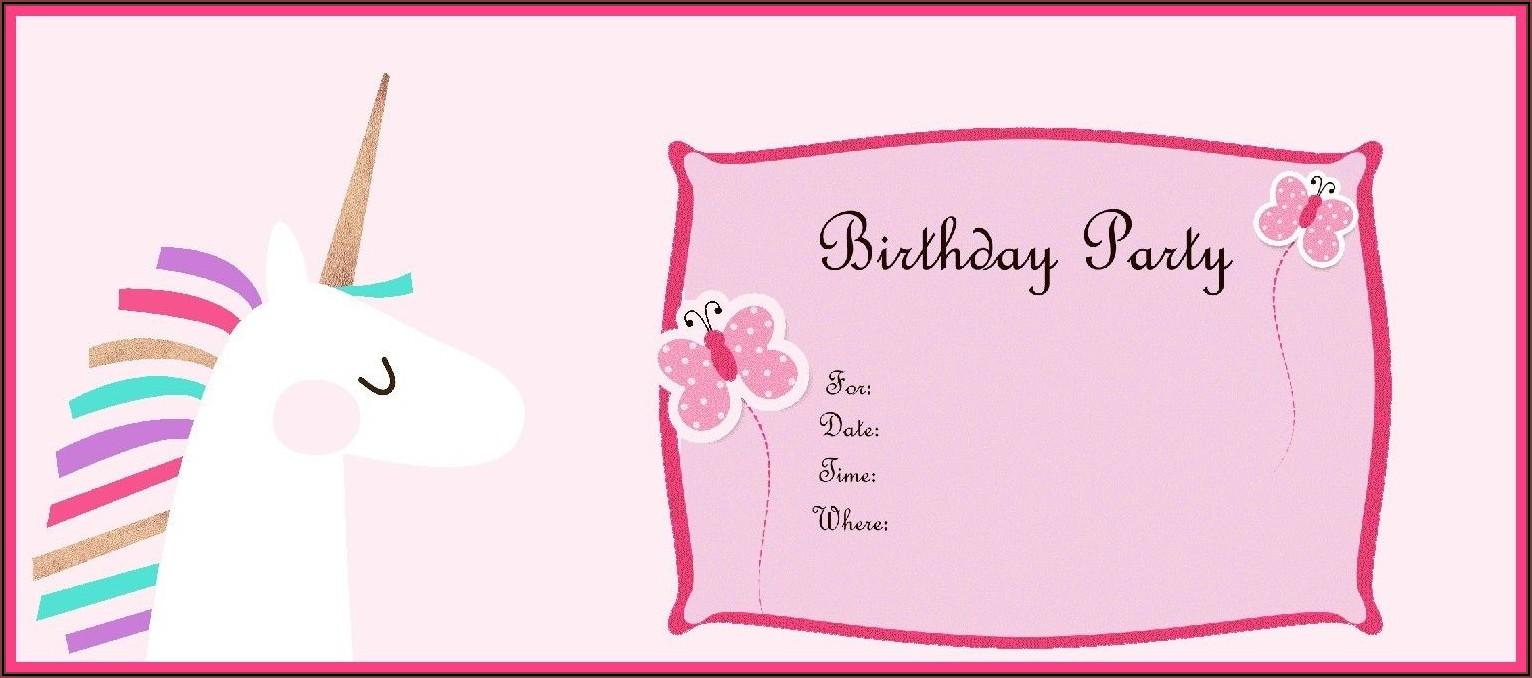 Unicorn Birthday Invitations Free Online