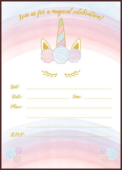 Unicorn Birthday Invitations Free Printable