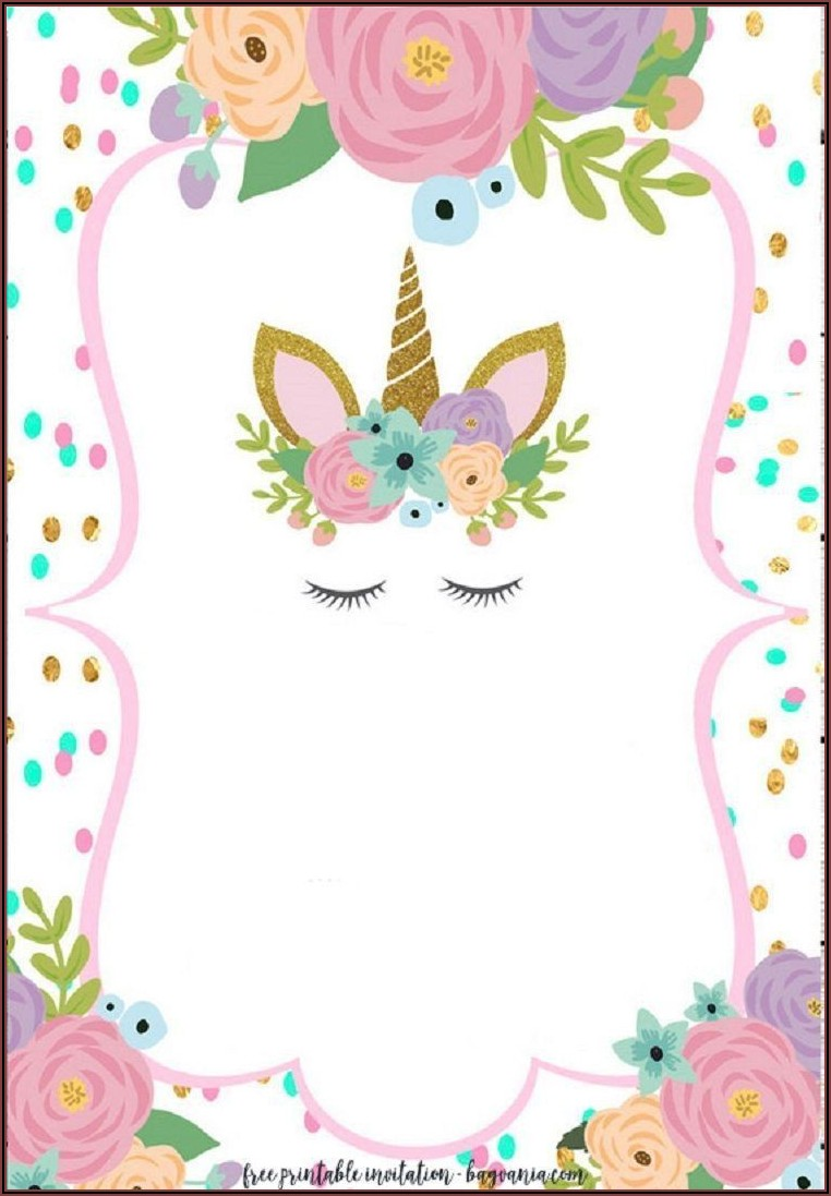 Unicorn Birthday Invitations Free Template
