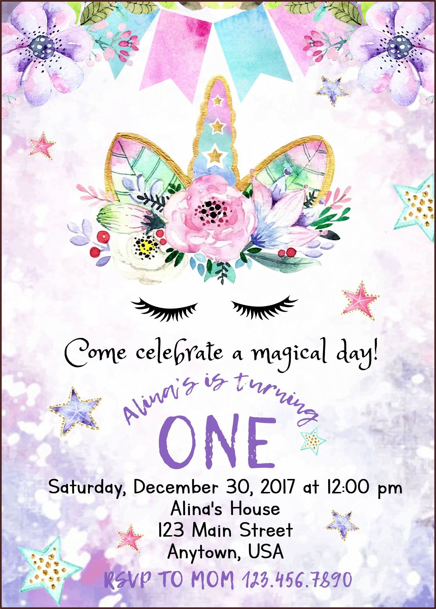 Unicorn Birthday Invitations With Photo