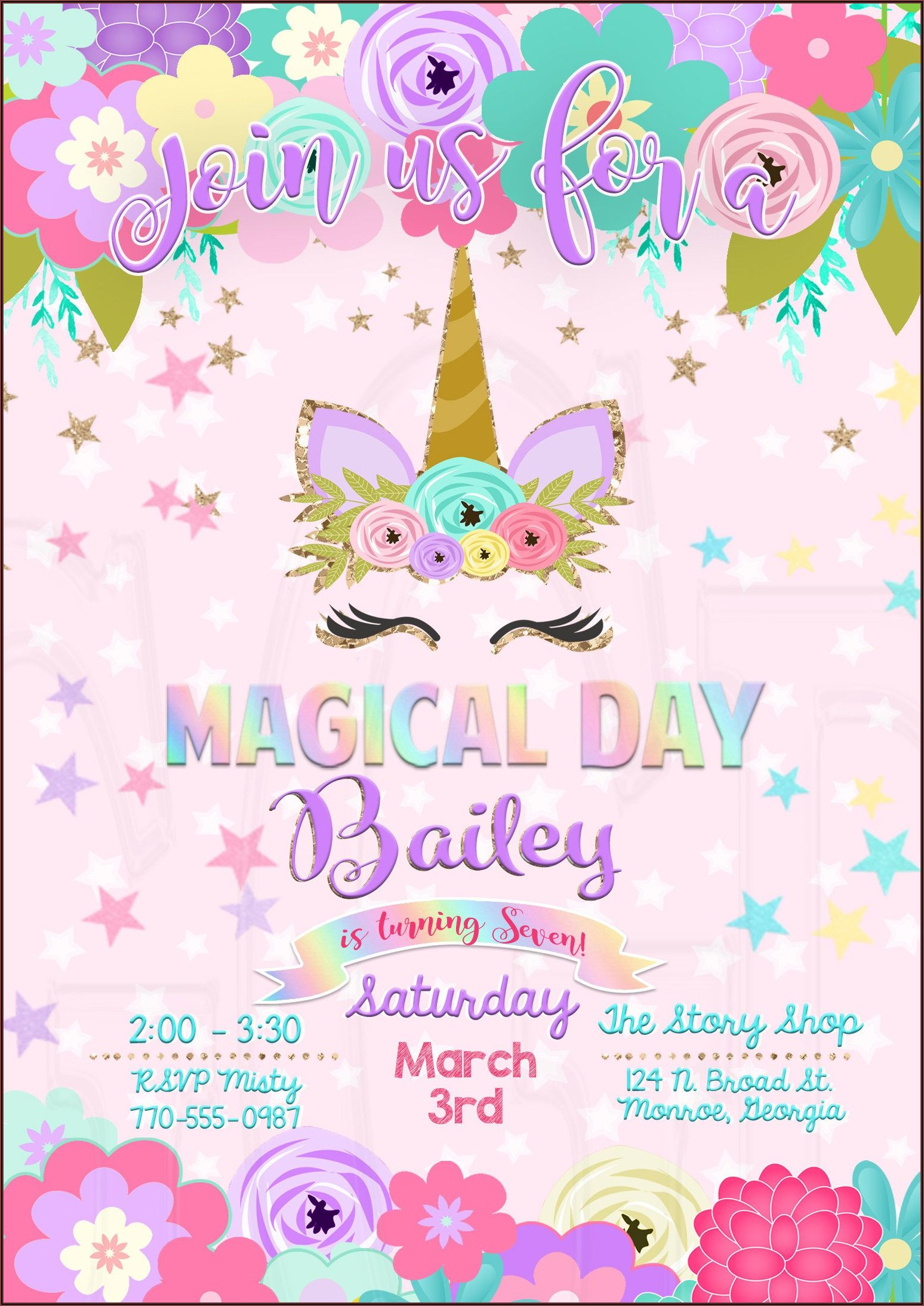 Unicorn Birthday Invitations With Picture