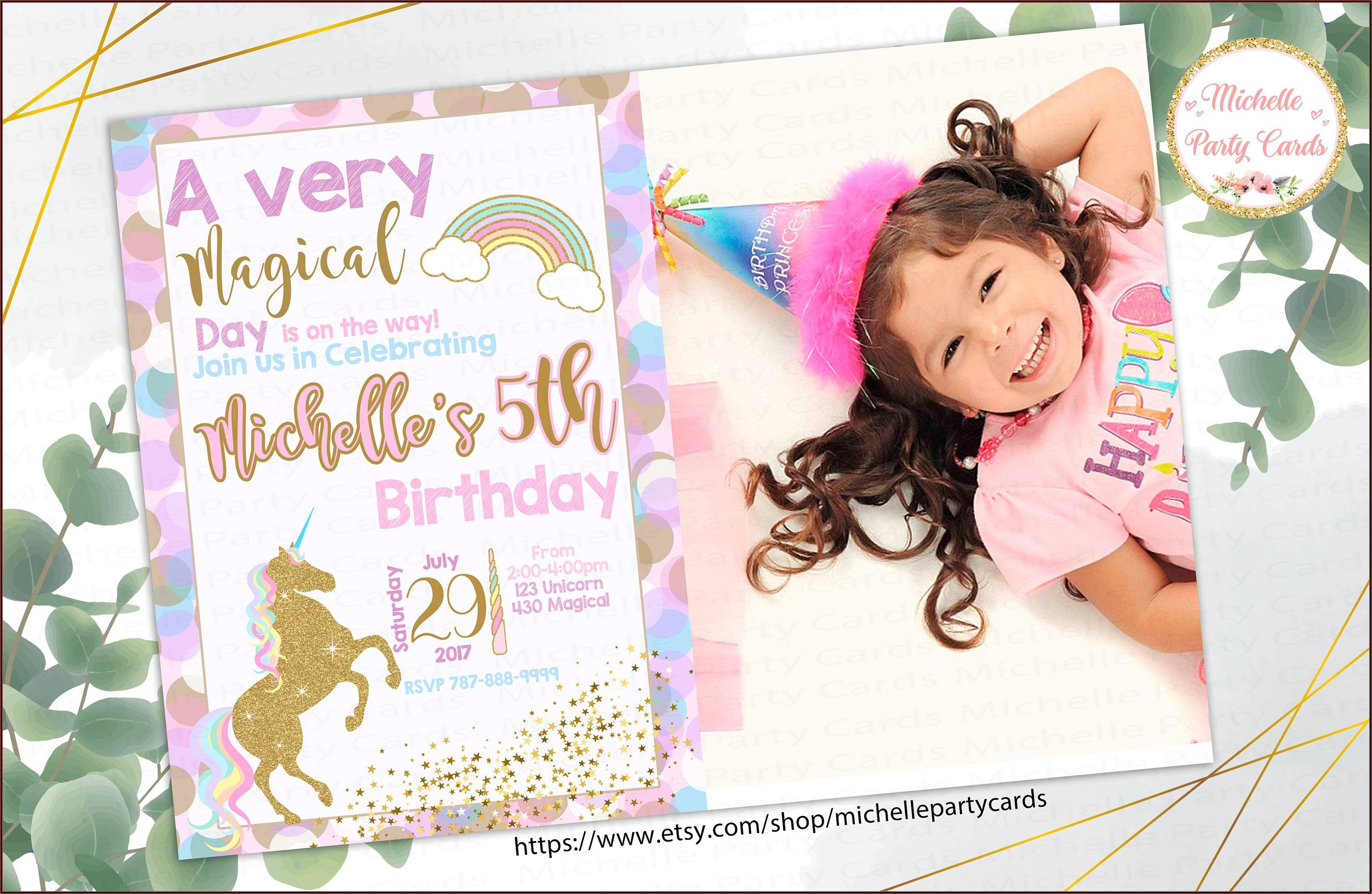 Unicorn Birthday Party Invitations With Photo