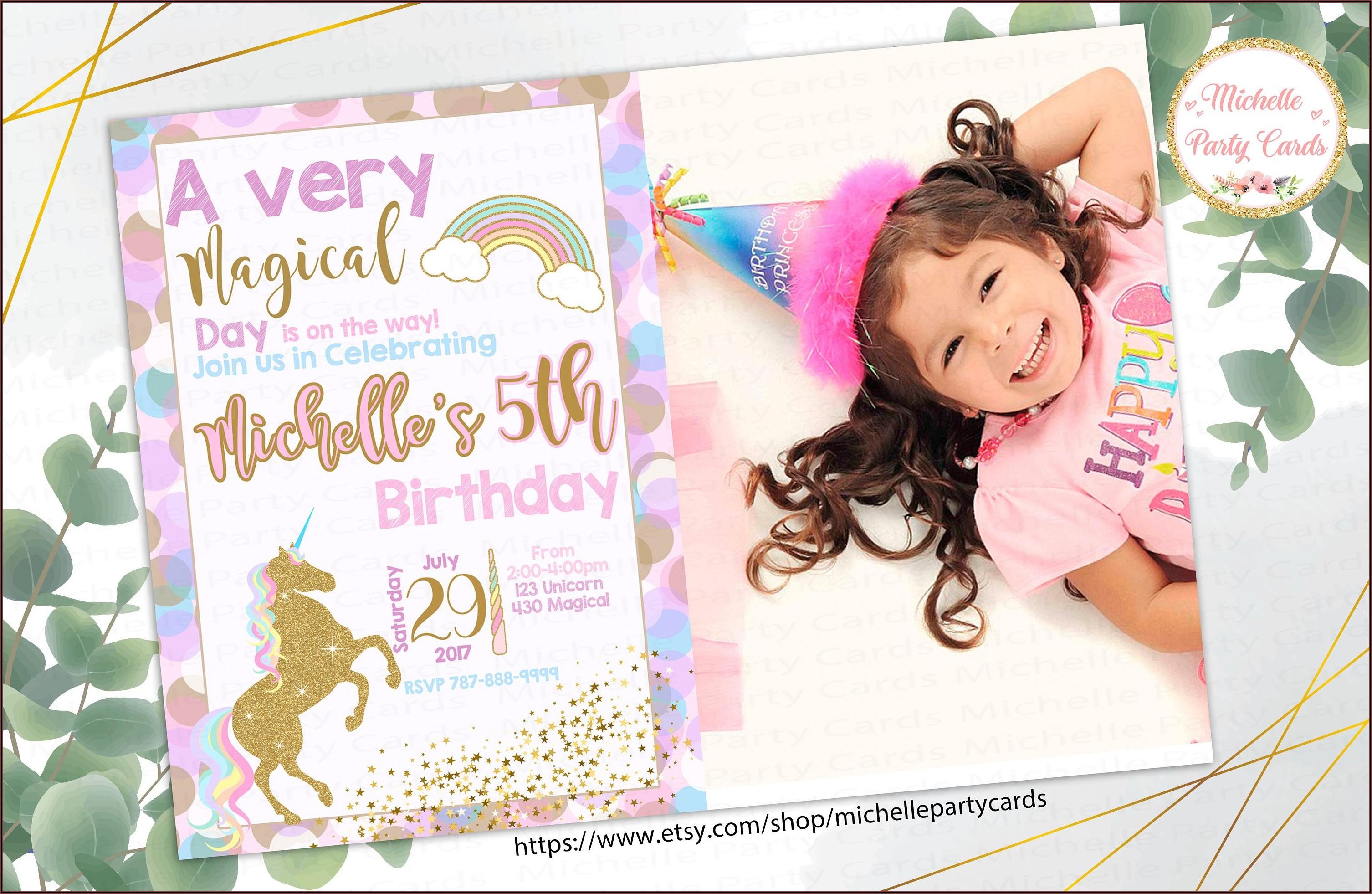 Unicorn Birthday Party Invitations With Photo