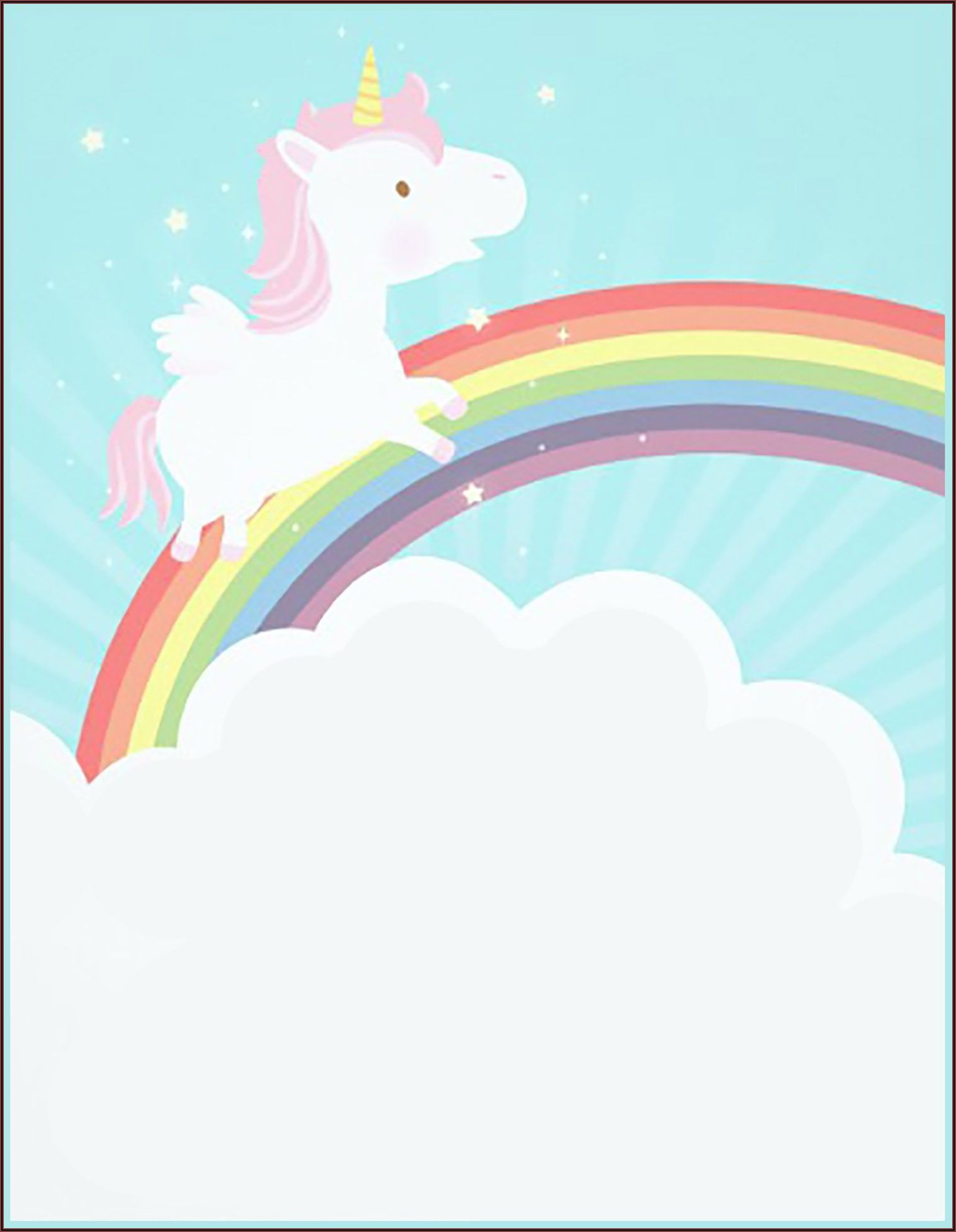 Unicorn Invitation Card Free Printable