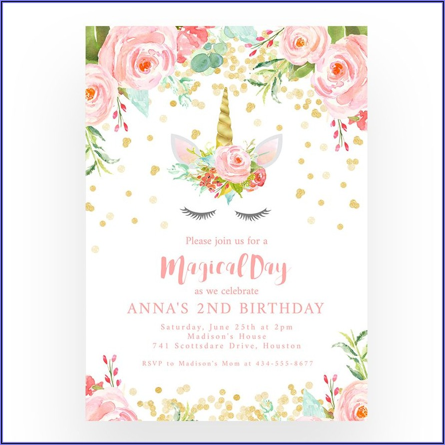 Unicorn Invitation Template Editable Free