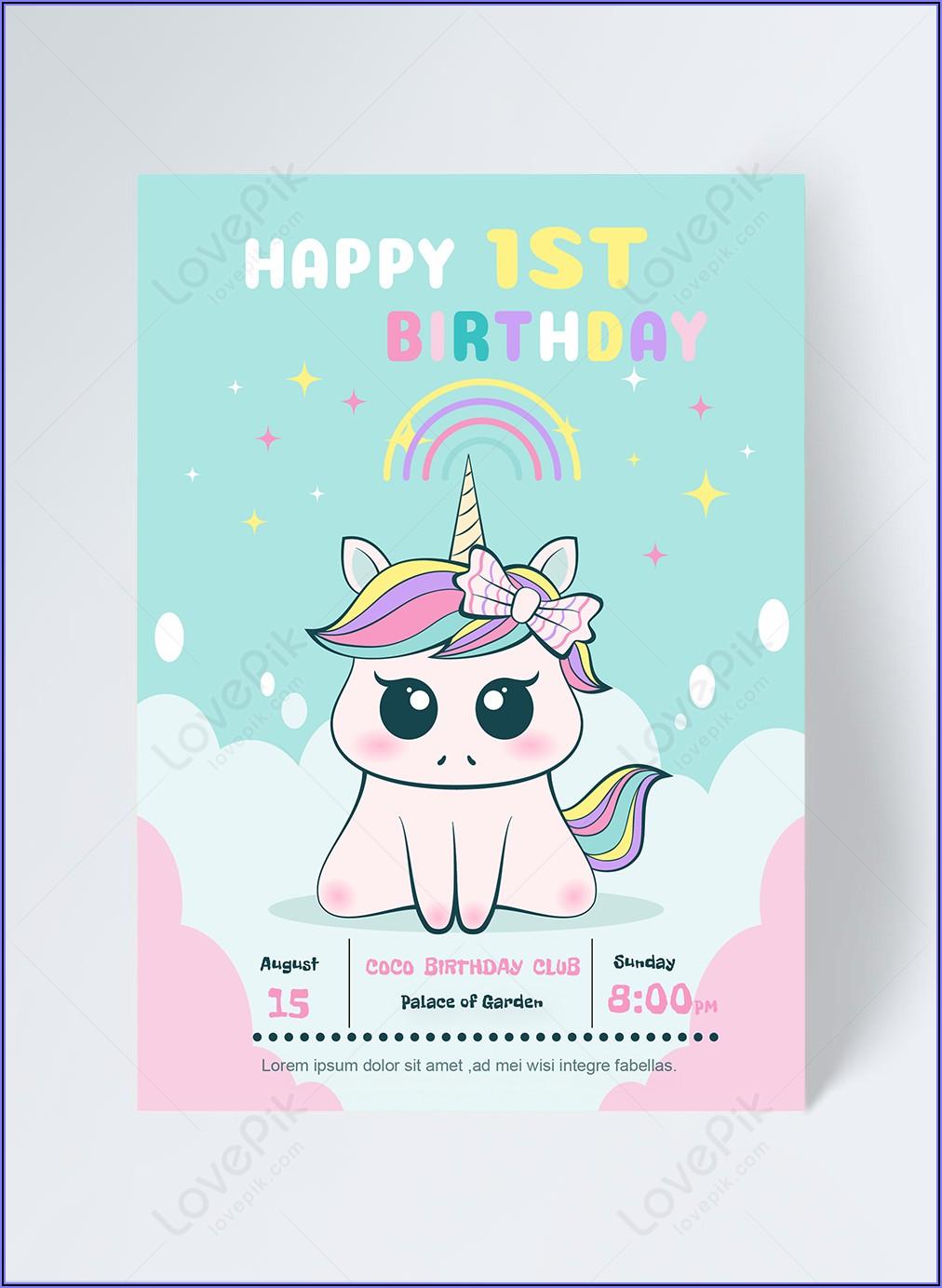 Unicorn Invitation Template Free Download
