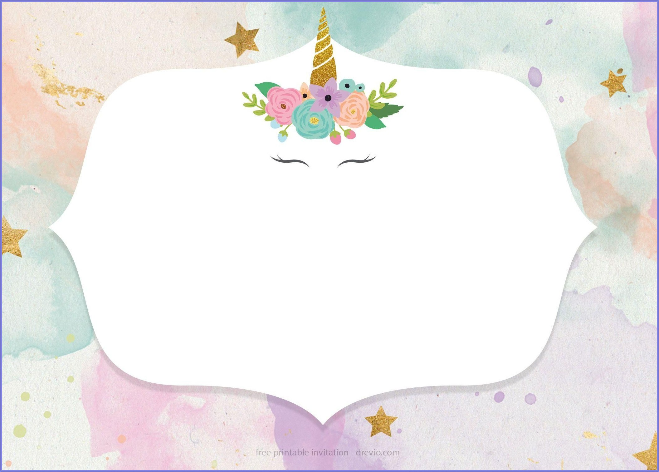 Unicorn Invitation Template Hd