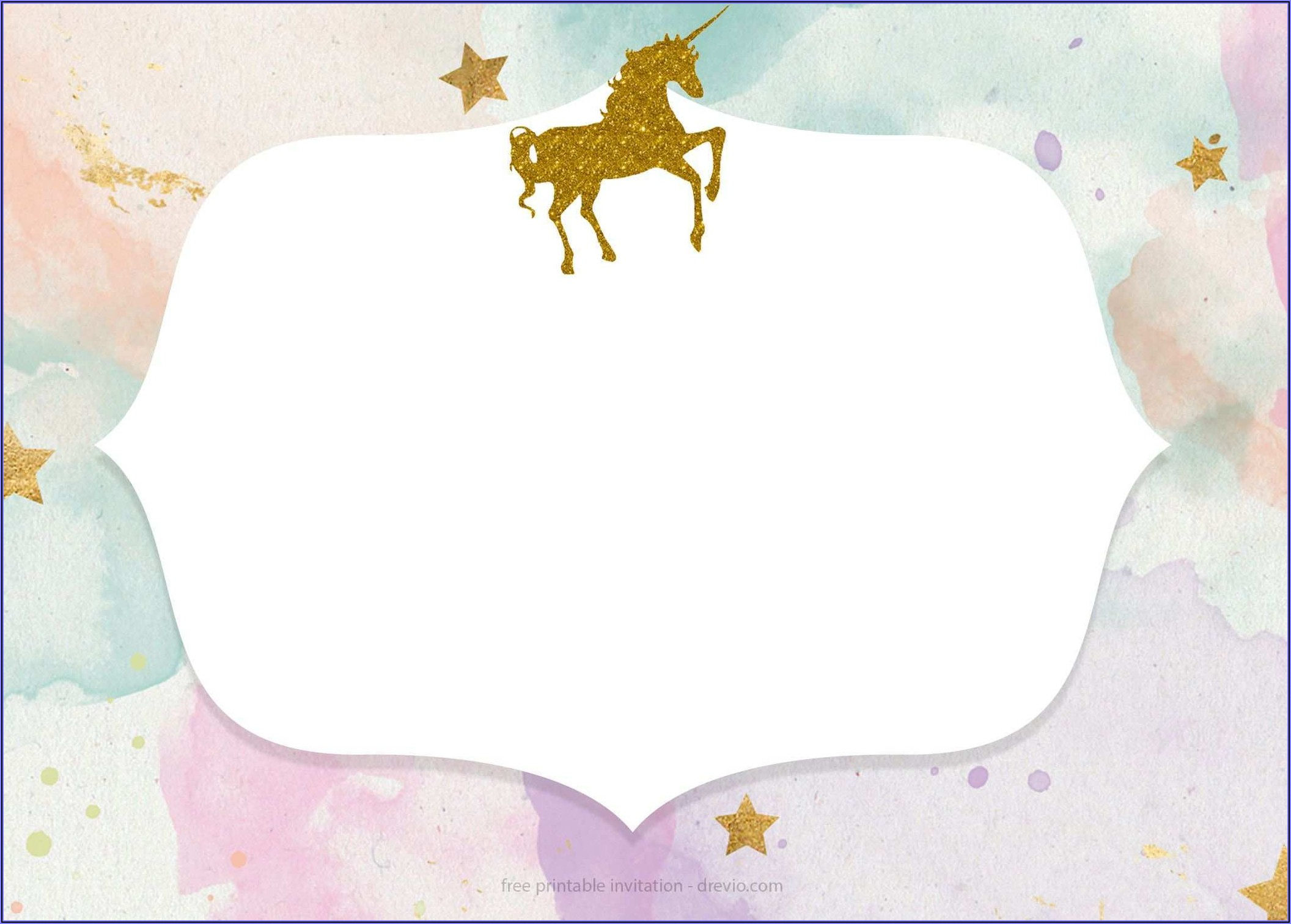 Unicorn Invitation Template Printable