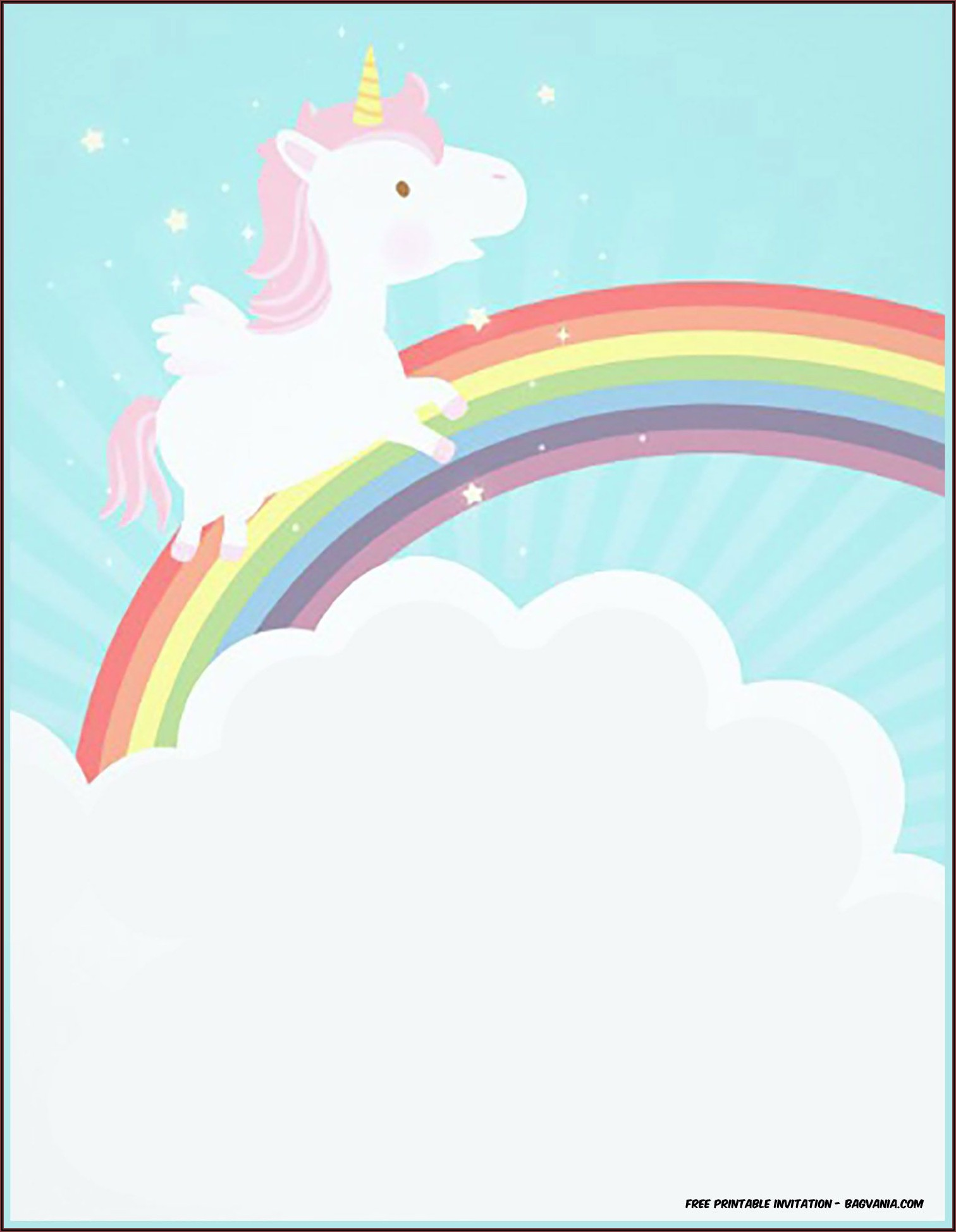 Unicorn Invitations Free Template