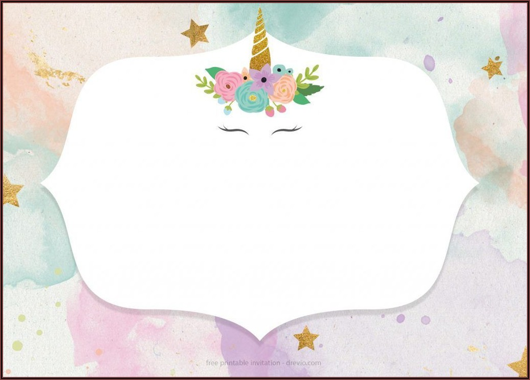 Unicorn Party Invitation Free Template