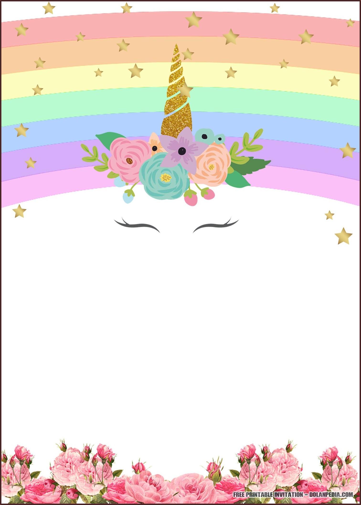 Unicorn Party Invitations Free Printable
