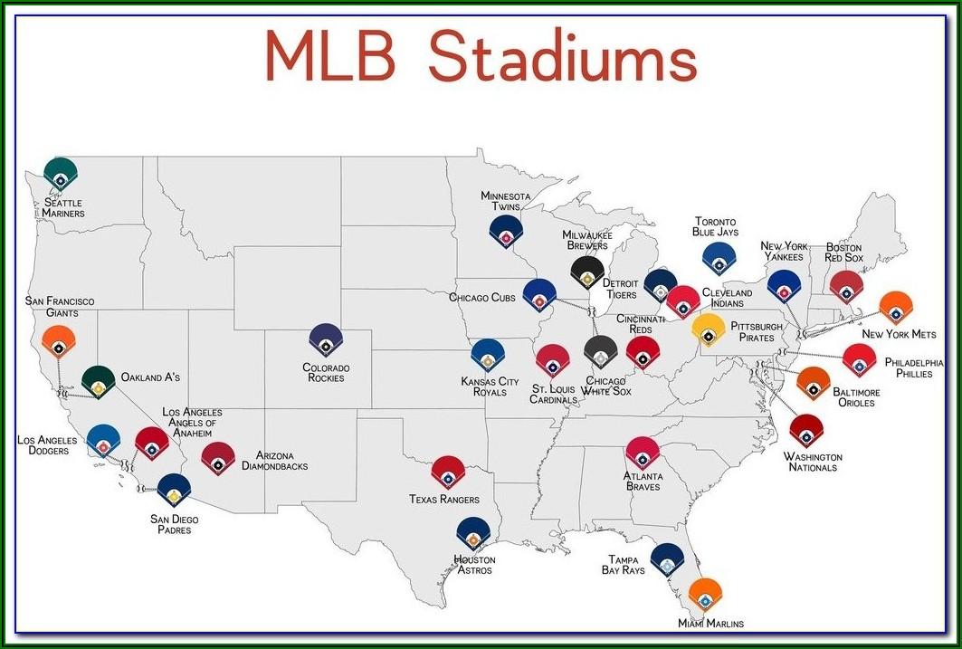 Us Map Of Major League Baseball Stadiums