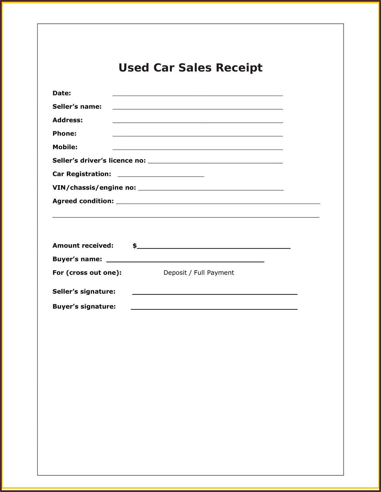 Used Car Sales Receipt Form