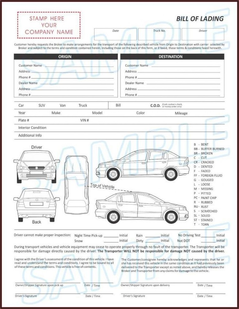 Vehicle Transport Bill Of Lading Template