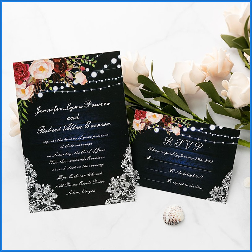 Vintage Floral Lace Wedding Invitations