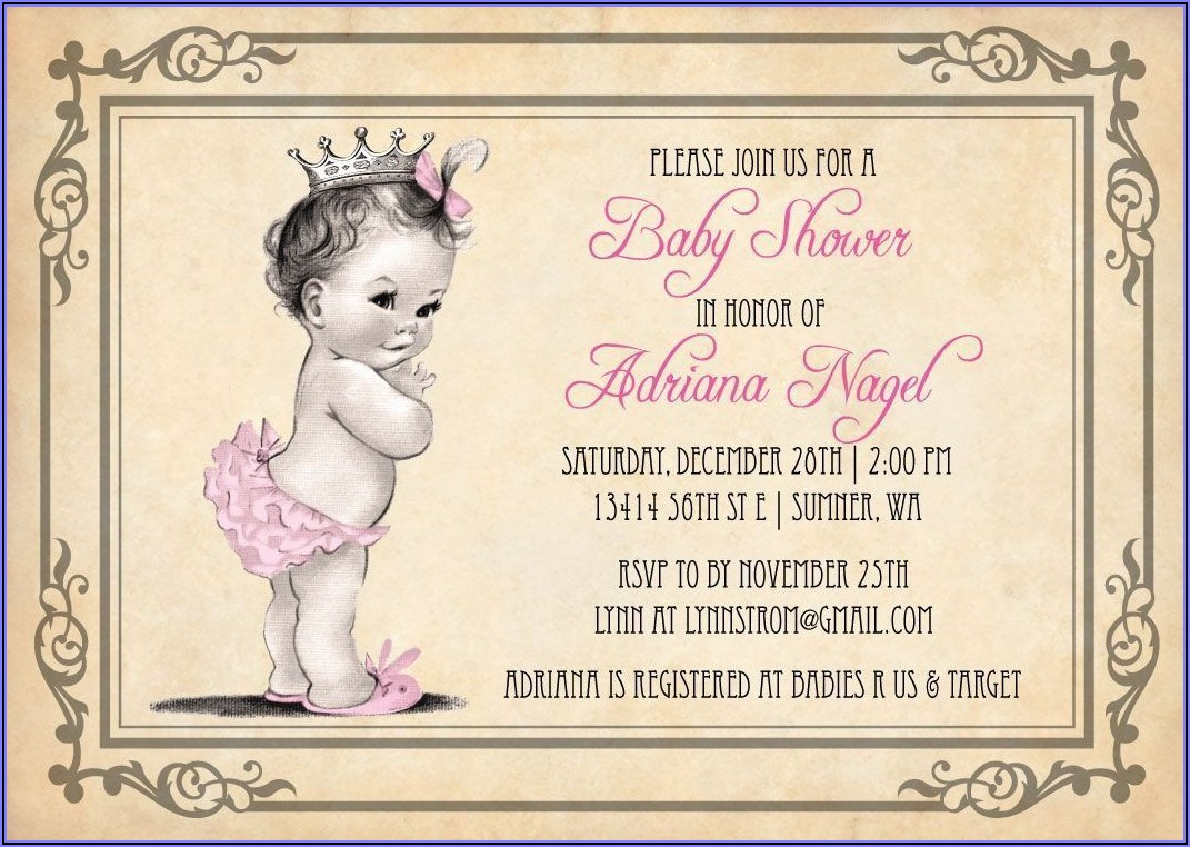 Vintage Girl First Birthday Invitations