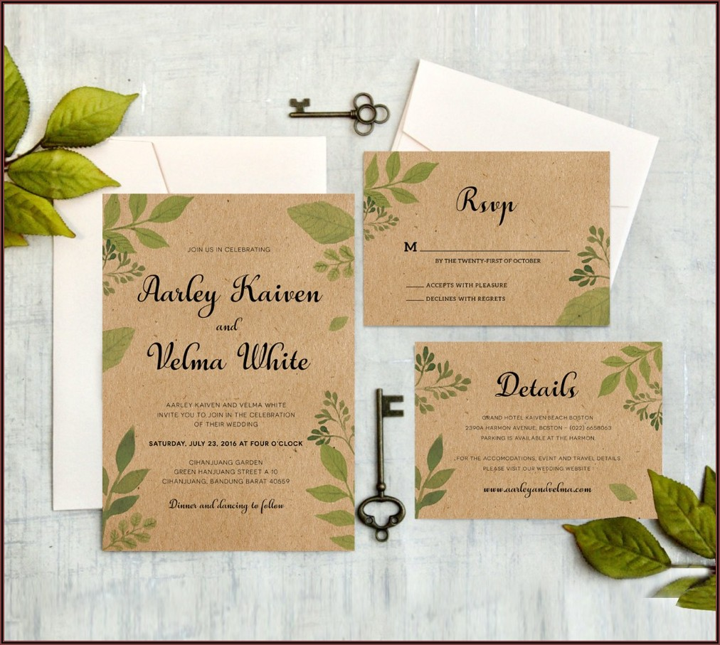 Vintage Wedding Invitations With Rsvp