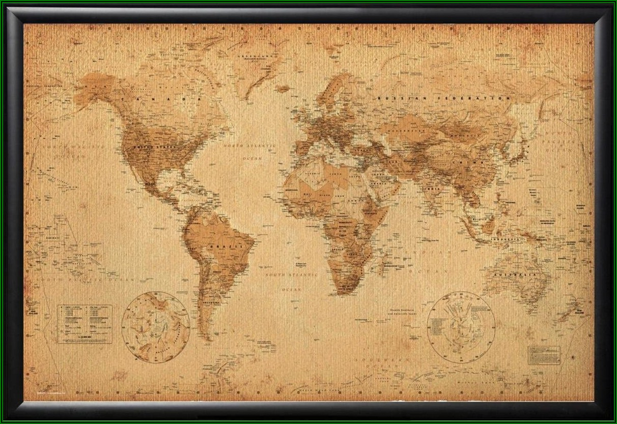 Vintage World Map Poster Framed