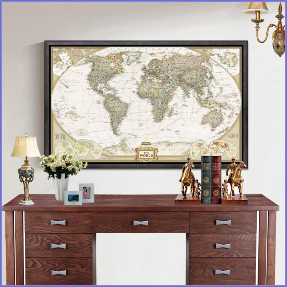 Vintage World Map Poster Large