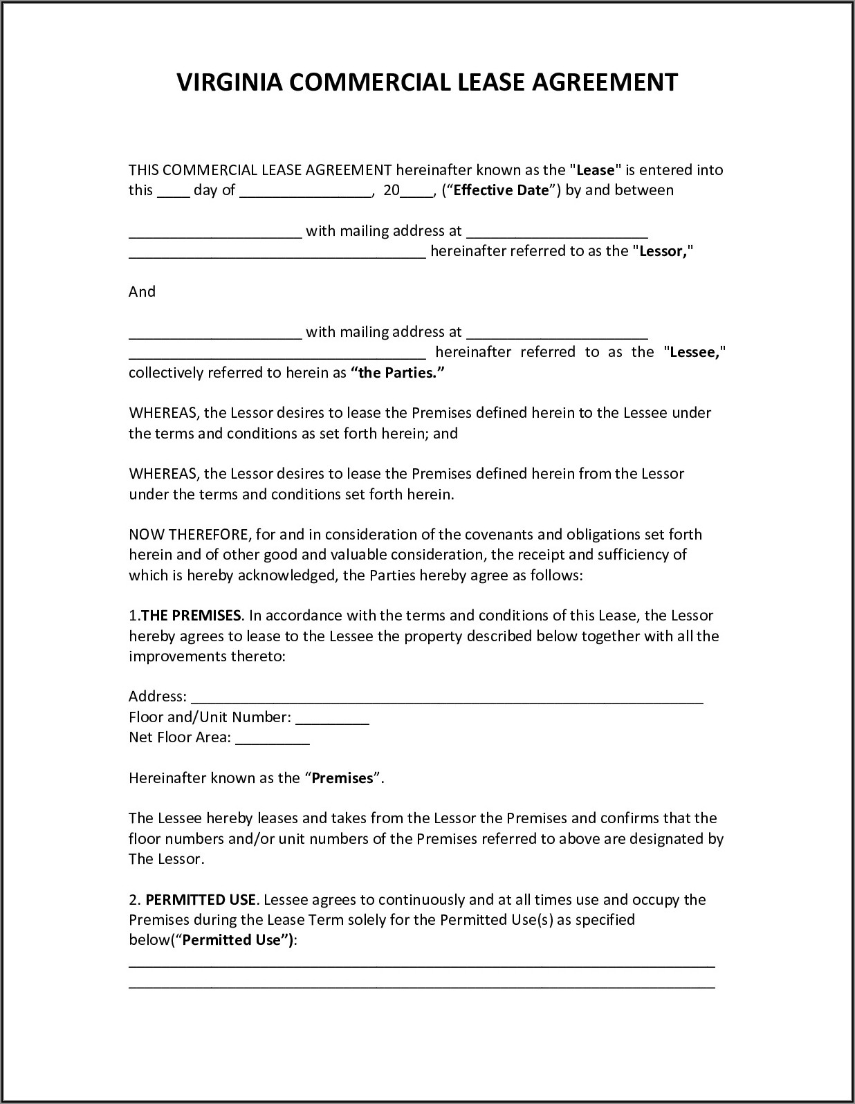 Virginia Commercial Lease Agreement Form
