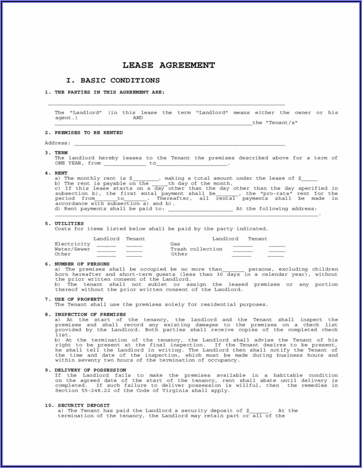 Virginia Lease Agreement Form