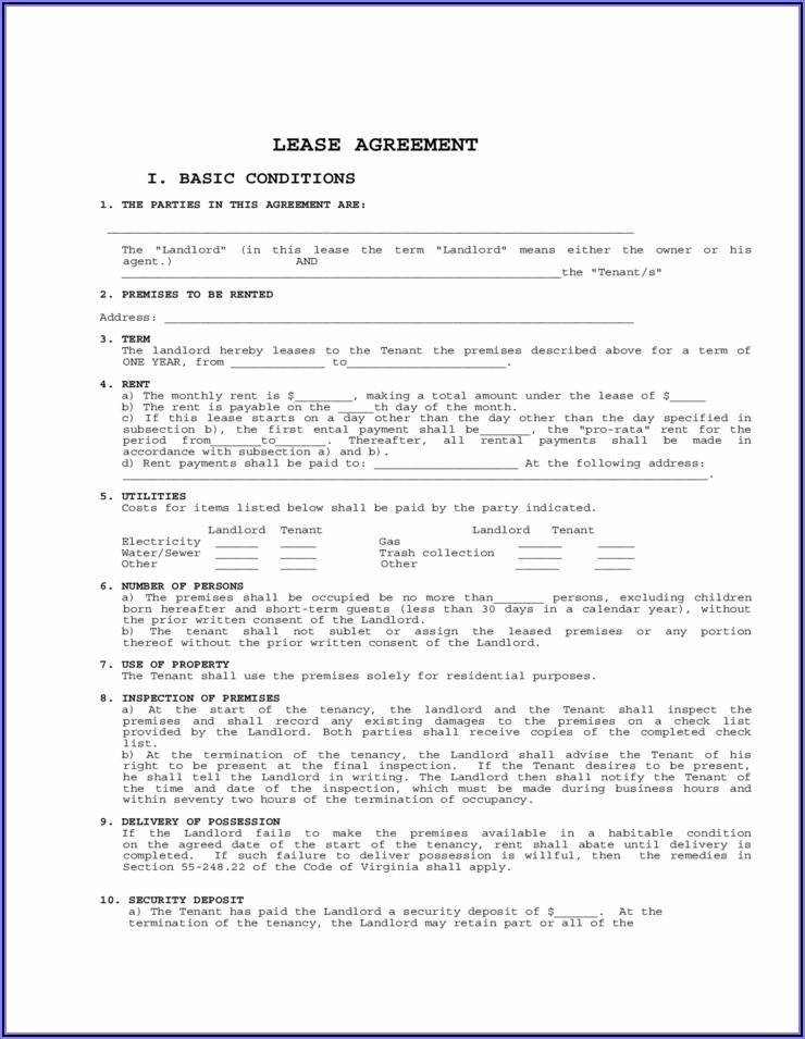 Virginia Lease Agreement Form